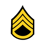 3'' STAFF SGT 3 UP 1 DWN MED GOLD AND BLACK