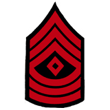3'' SGT 1ST CLASS 3 UP 3 DWN DIAMOND RED AND BLACK
