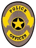 OVAL SHIELD - GOLD ON SILVER - POLICE OFFICER